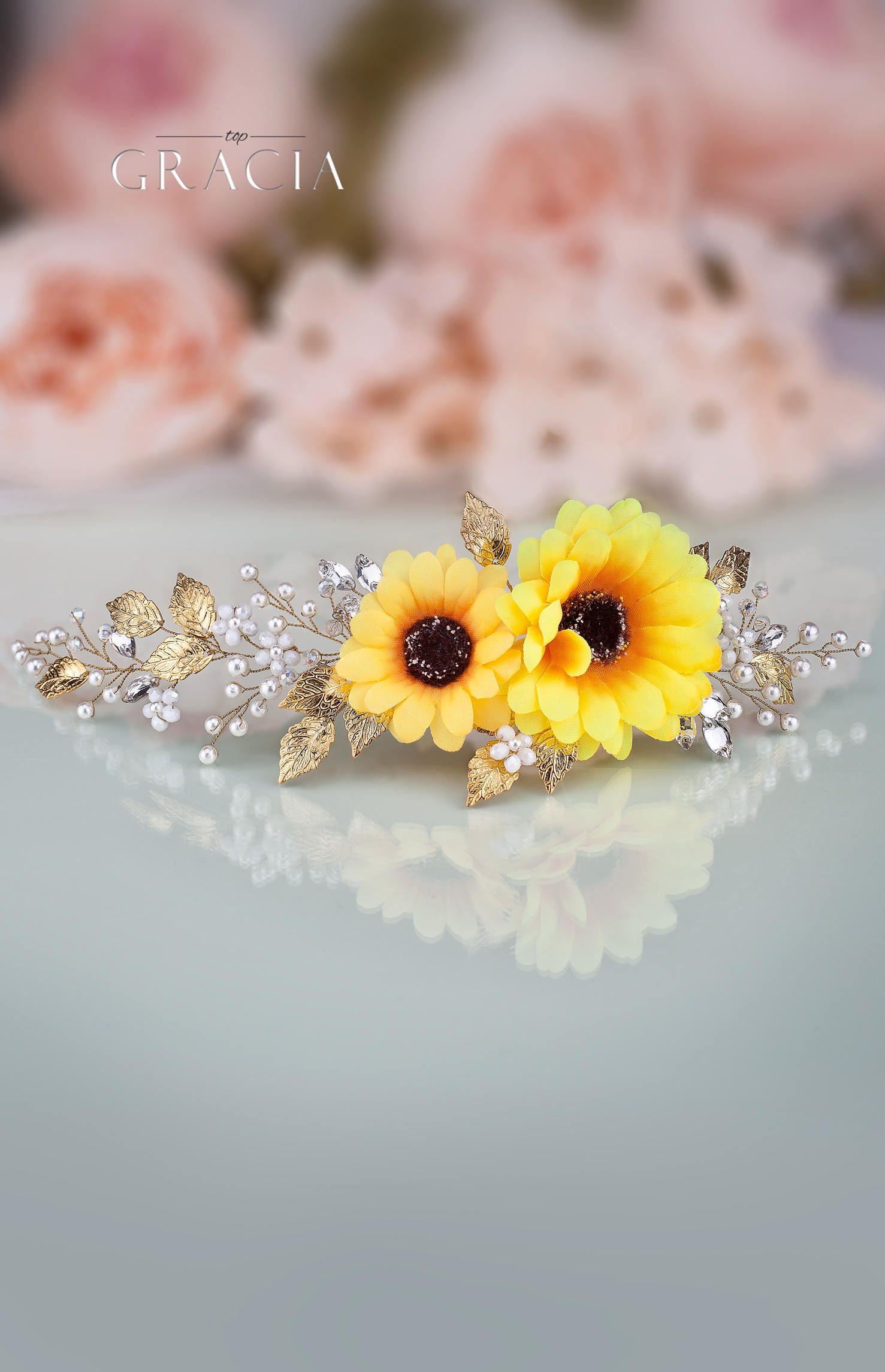 Sunflower flower hair comb Sunflower headband Yellow flower crown Sunflower wedding Fall floral crown Fall wedding Yellow bridal headpiece