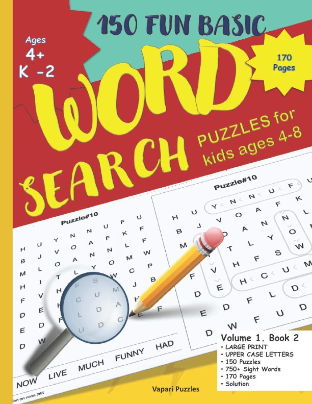 150 Fun Basic Word Search Puzzles For Kids Ages 4 8 Word Puzzle Activity Book For Kids With Sol Puzzles For Kids Word Puzzles Book Activities