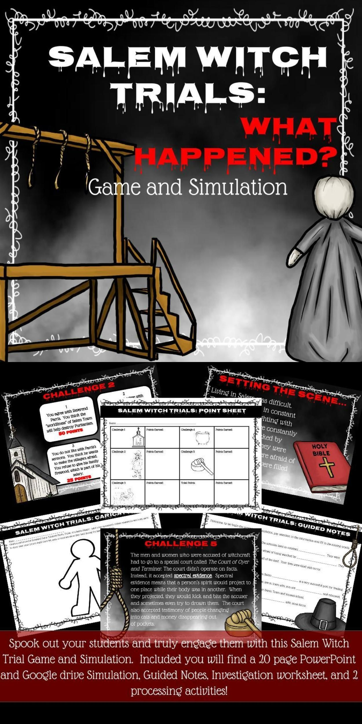 Salem Witch Trial Game And Simulation