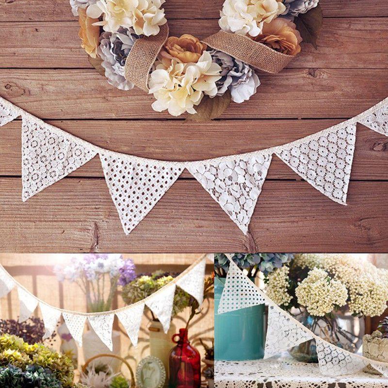 2.3M Vintage Lace Hessian Burlap Banner Shabby Chic Bunting Wedding Party Decor #UnbrandedGeneric