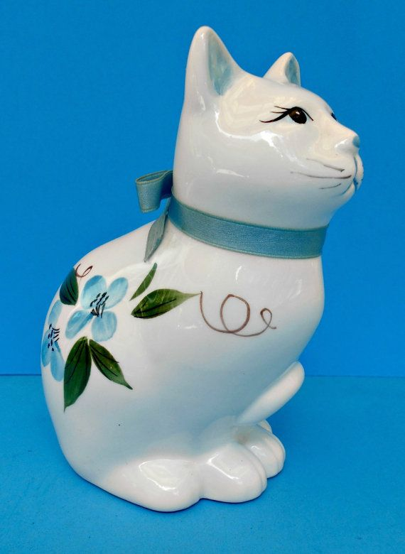 Blue and White Ceramic Cat, Floral Porcelain Kitty, Hand Painted Vintage Figurine.