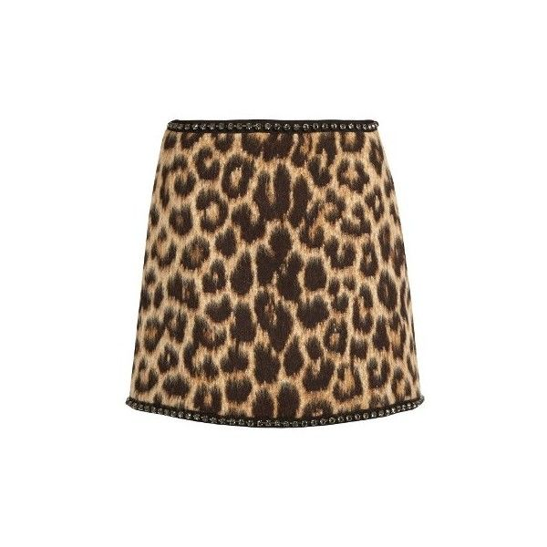 No. 21 Leopard-print wool-blend mini skirt ($573) ❤ liked on Polyvore featuring skirts, mini skirts, leopard, polka dot skirt, short brown skirt, leopard print mini skirt, wool blend skirt and leopard mini skirt