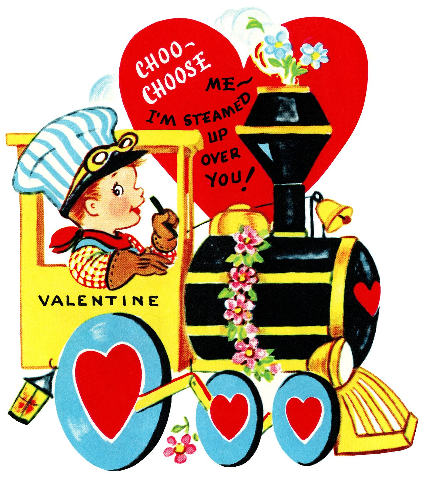 Valentine S Day Vintage Toys : Train valentine vintage clip art boy engineer