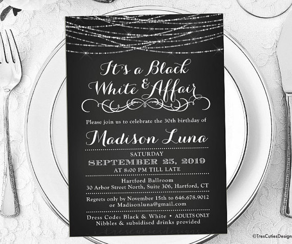 Its A Black And White Affair Party Invitations