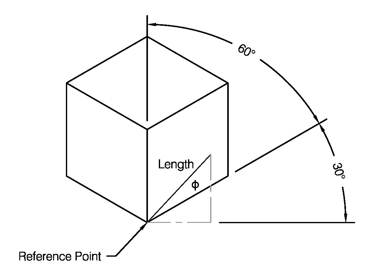 The Angle To Be Produced Shown Against An Isometric Cube