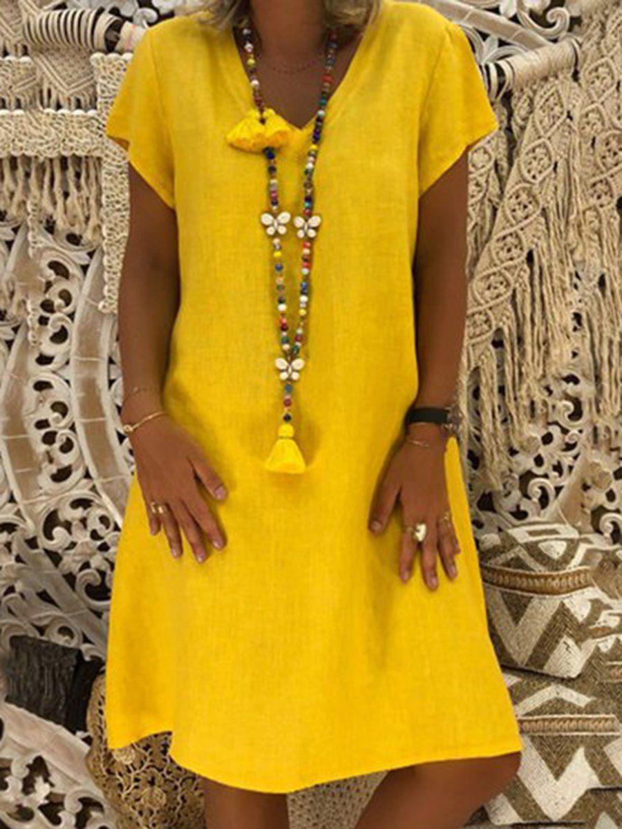 63962fc957864 JustFashionNow Plus Size V-Neck Women Summer Dress Shift Daily Dress Short  Sleeve Casual Solid Dress