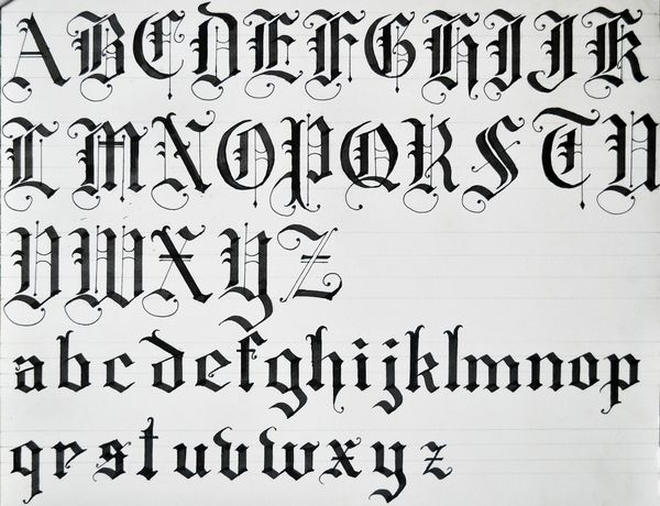 Old english calligraphy alphabet black letters using