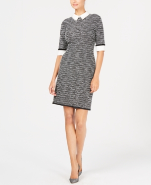 3ea4e550 Ivanka Trump Embellished-Collar Knit Sheath Dress - Gray 10 ...
