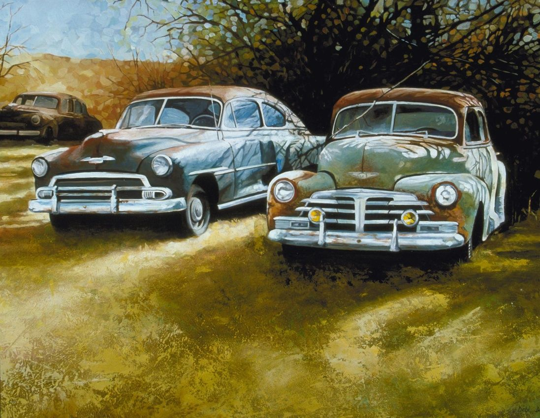 A Rusty Row- Vintage Car Art, classic Old Motors painted in oils. Giclee canvas …