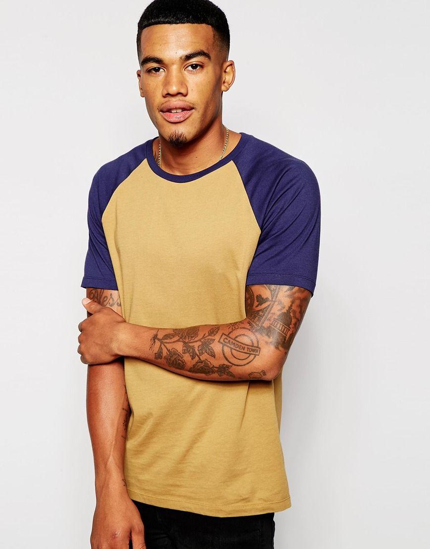 T-Shirt von ASOS weiches Jersey Rundhalsausschnitt kontrastierende Raglanärmel reguläre Passform - entspricht den Größenangaben Maschinenwäsche 100% Baumwolle Model trägt Größe M und ist 178 cm/5 Fuß 10 Zoll groß
