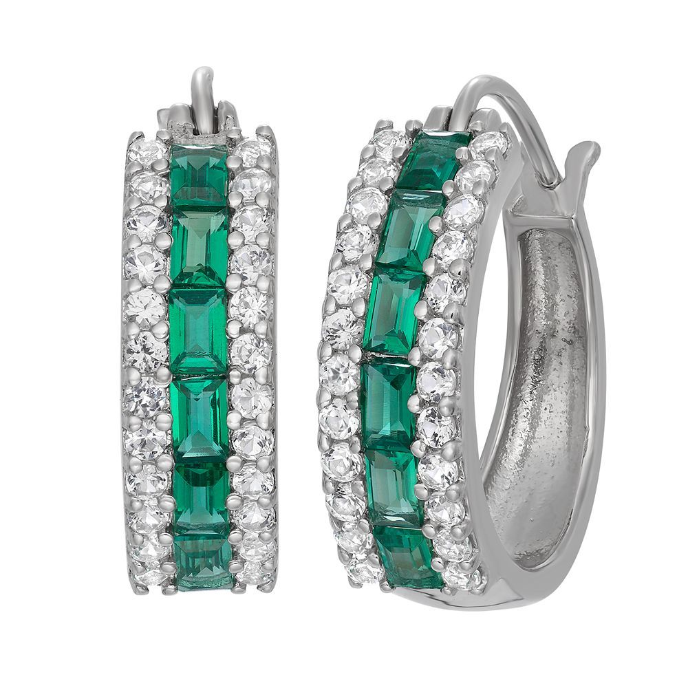 a4db4263e Sterling Silver Lab-Created Emerald and Lab-Created White Sapphire Hoop  Earrings, Women's, Green