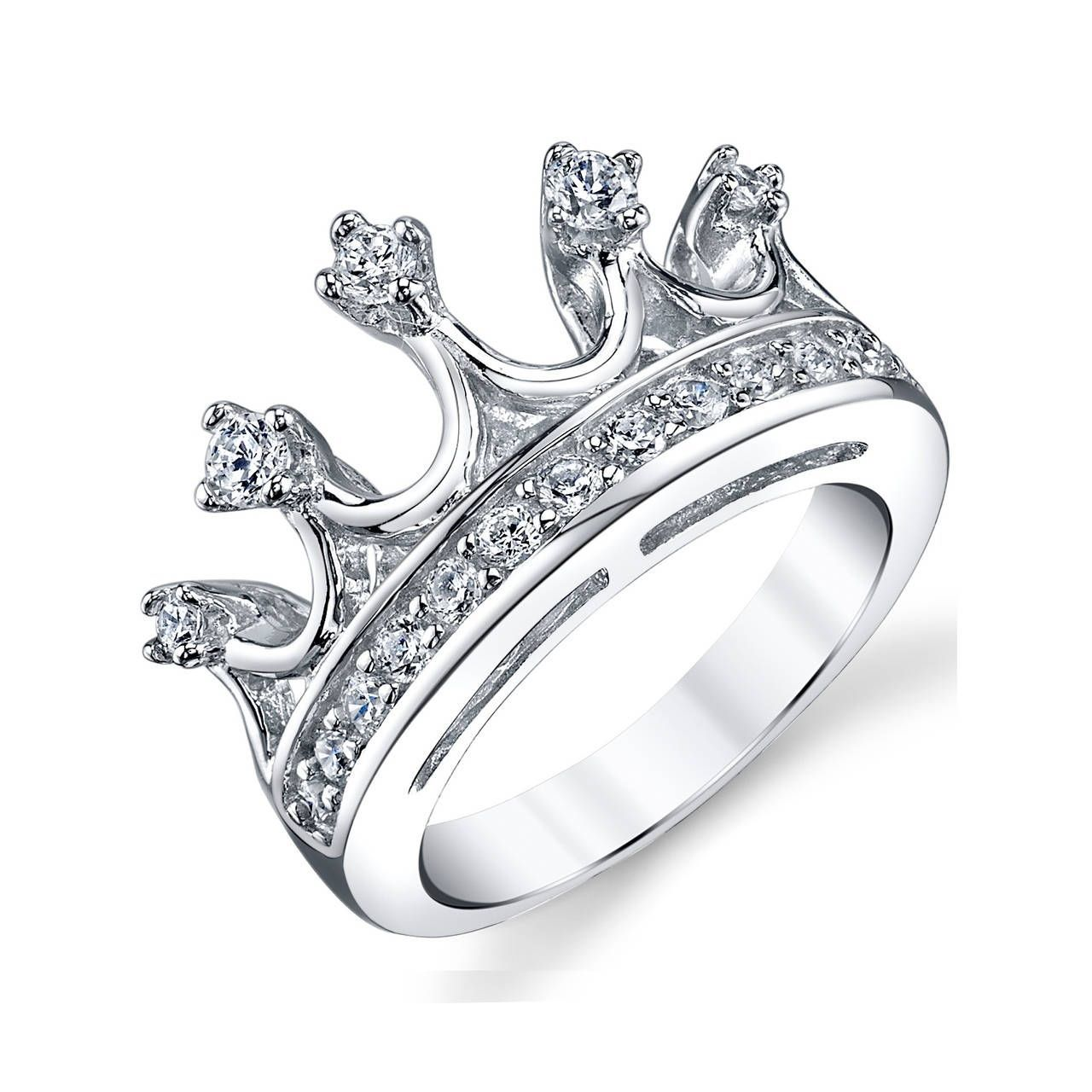 deb7bfd5d Oliveti Sterling Silver Women's Cubic Zirconia Princess Crown Tiara Ring  Band - Clear (11)