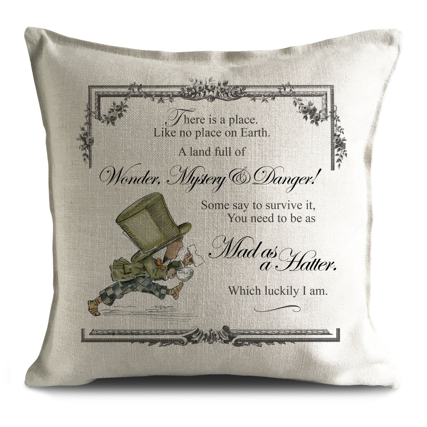 Alice in wonderland cushion cover mad hatter mystery and danger