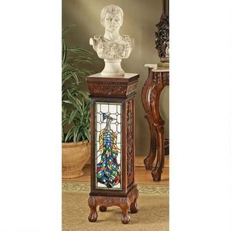 Peacock Stained Glass Illuminated Hand-Carved Pedestal Was: $375.00           Now: $275.00
