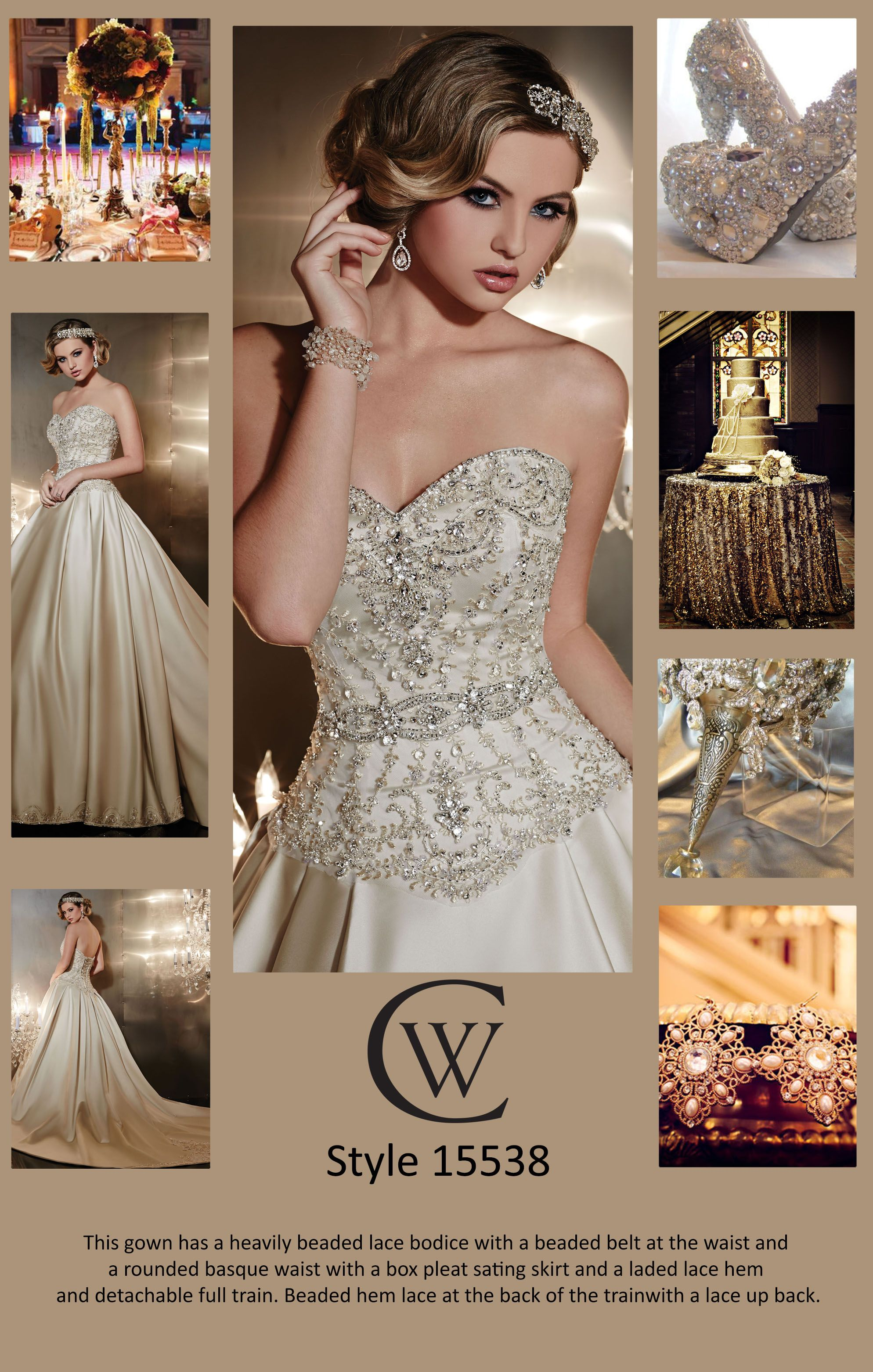 Style is an elegant choice for a traditional bride or brideto