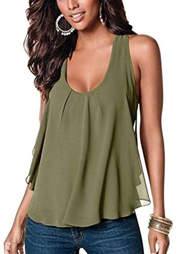 3d5cc4056596 MERRYFUN Women's Casual Sleeveless Chiffon Tank Top Vest Shirt, Army green  2XL Price:$11.99 & Free Return on some sizes and colors Fit: Runs small  (50%)