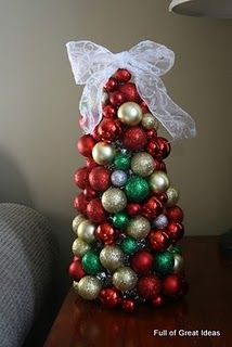 Diy Tree Mini Plastic Christmas Styrofoam Cone Tinsel And Hot Glue