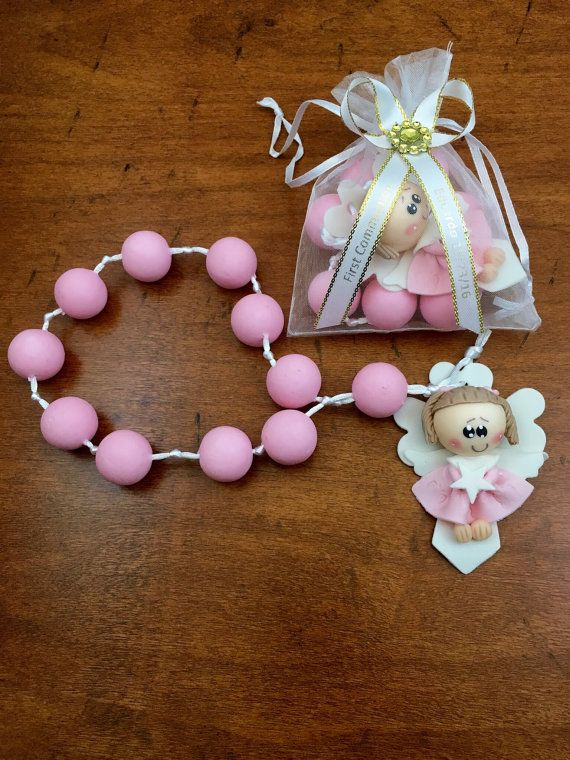 12 Angel Rosary Favors Baptism Pink First Communion Christening