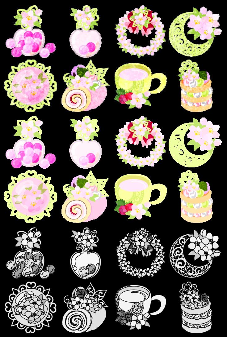 2018 年の「フリーのアイコン素材「桜の雑貨の可愛いアイコン / the cute