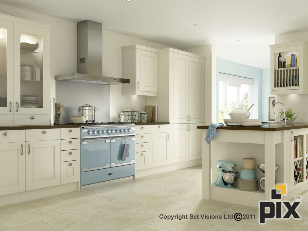 Soft tones of cream and blue create this traditional for Blue and cream kitchen ideas