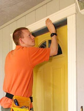 Installing Decorative Trim Around A Doorway Is Quick Easy And Cost Effective Installing Exterior Door Exterior Door Trim Front Door Trims