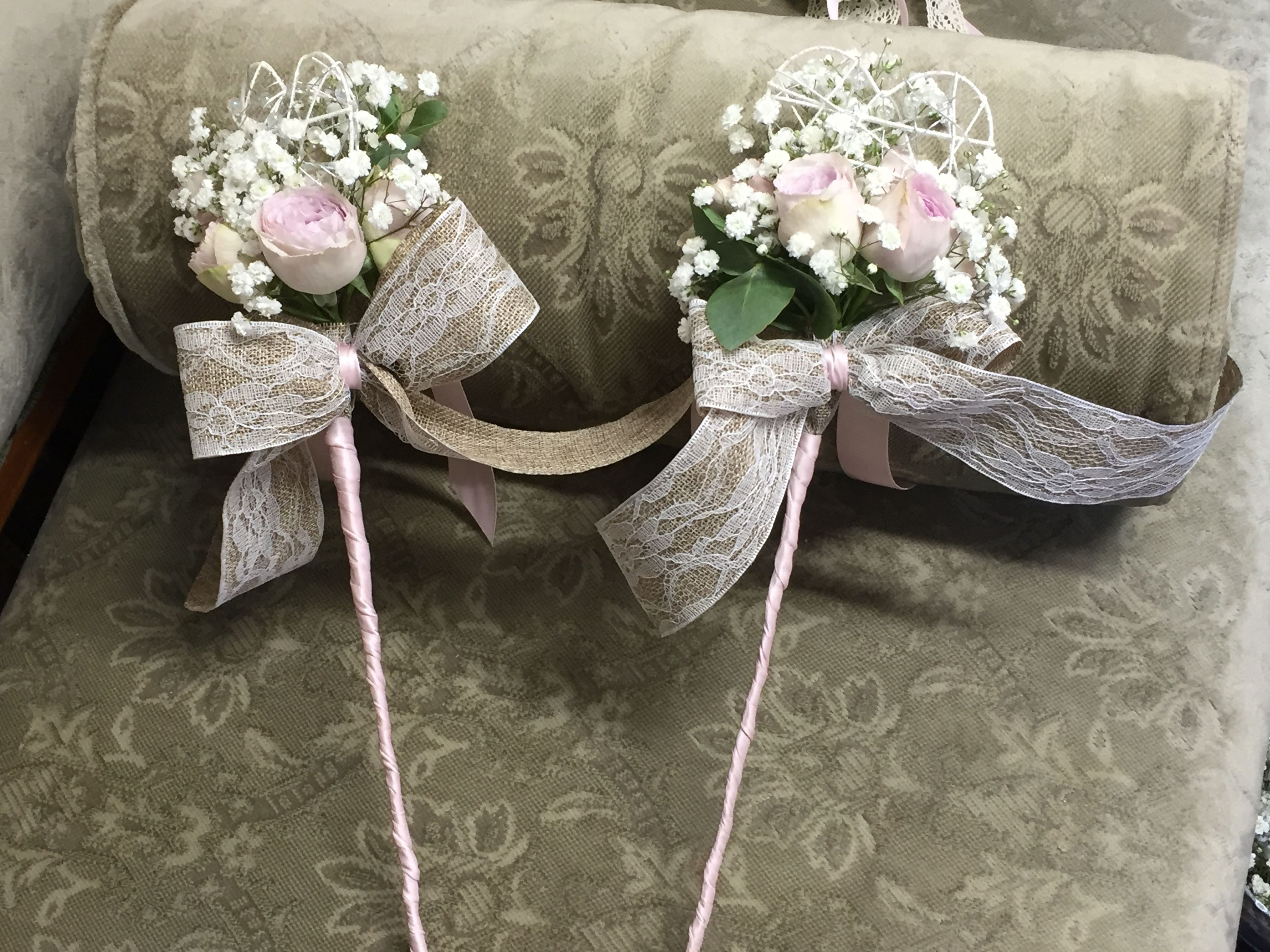 Flower girl wands with spray roses, white gypsophila,hessian and ...