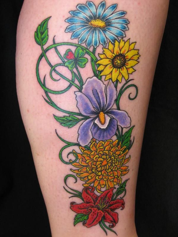 Bouquet Tattoo Tattoos: Bright Flower Bouquet By Peggy