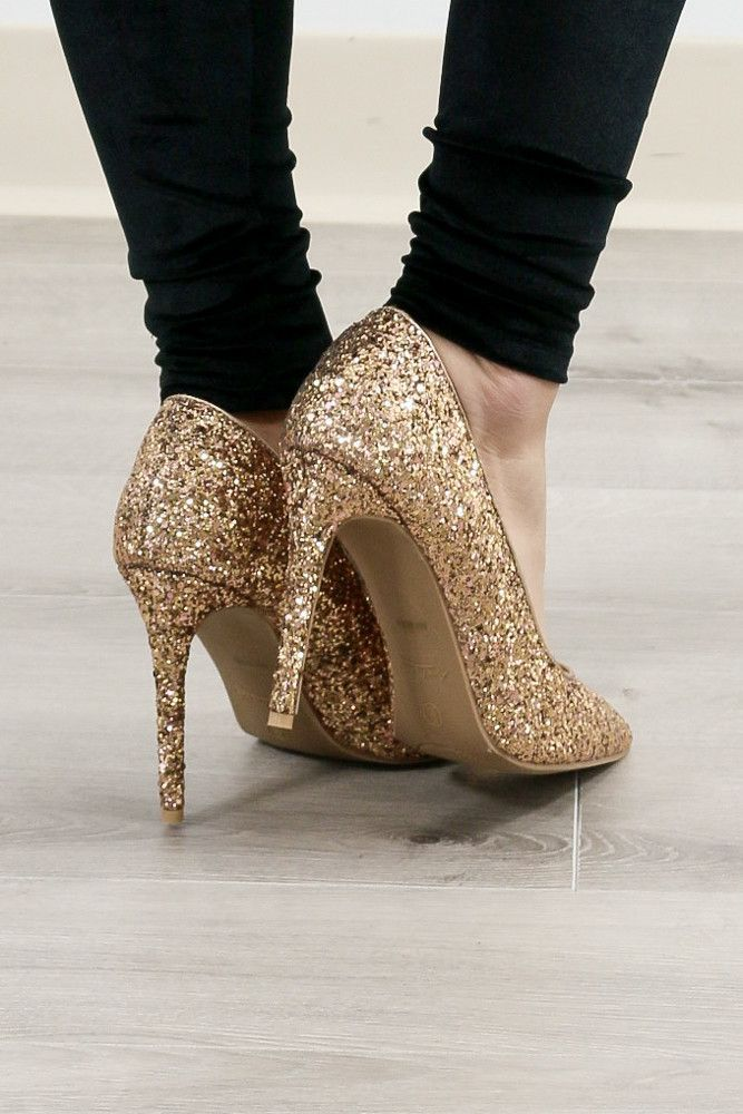 Bridesmaid shoes, Gold sparkly heels