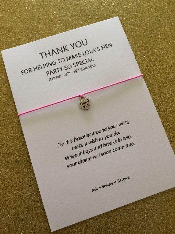 Wish Bracelet Friendship Thank You Hen Party Wedding Bridesmaid Flower girl