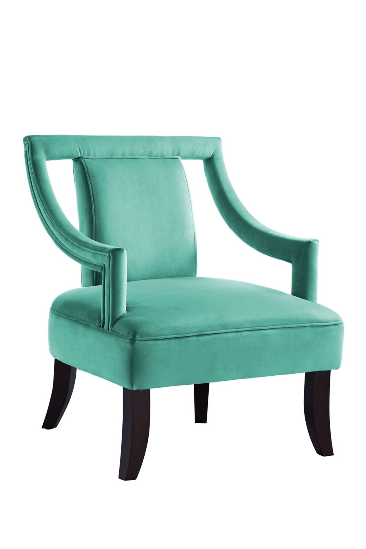 Teal Blue Aubrey Velvet Swoop Arm Accent Chair Products