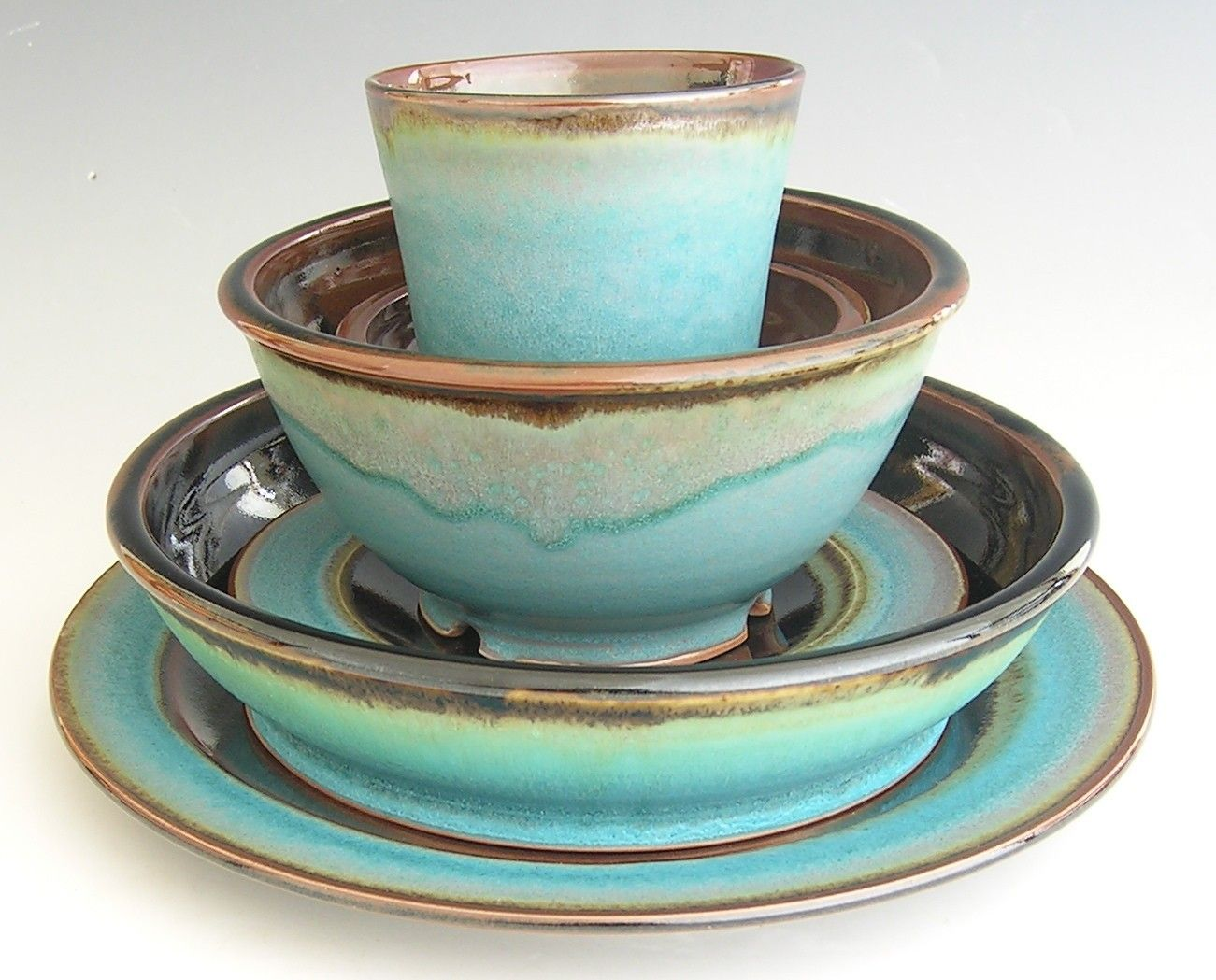 reserved for heather  dinnerware pottery and ware fc - ceramic dinnerware set  made to order  turquoise brown black via etsy