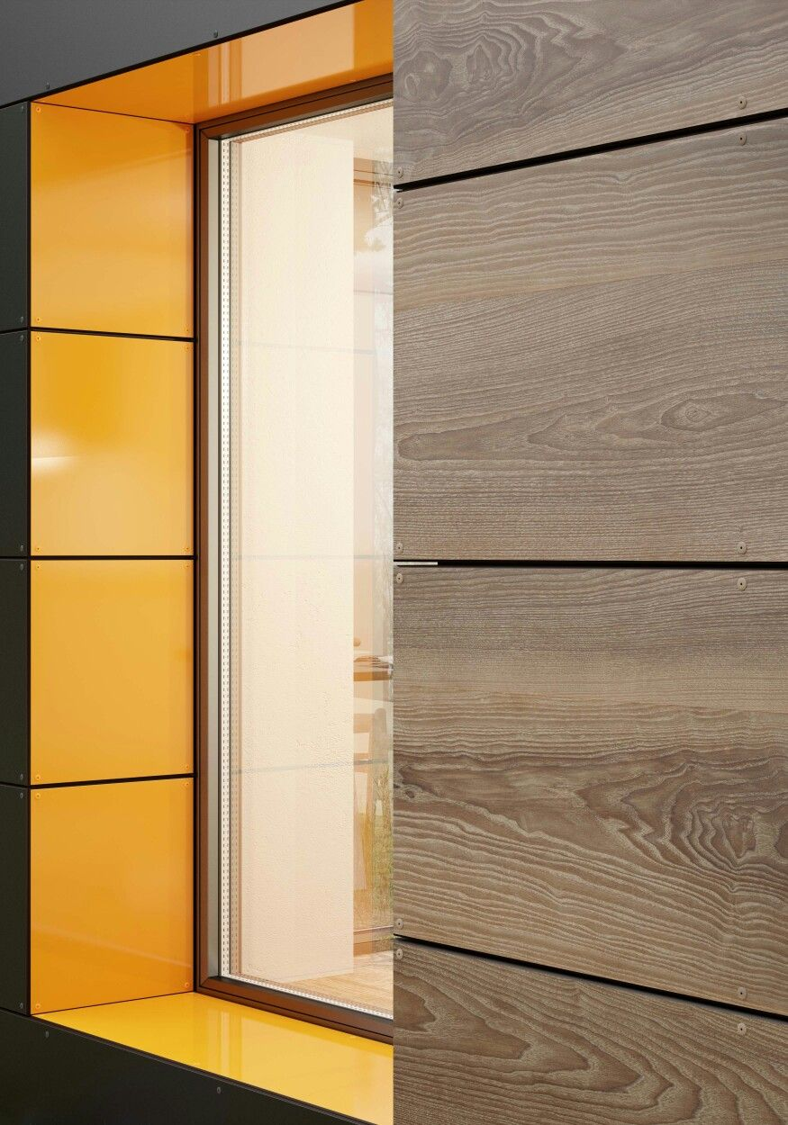 Purely Visual Experience With Bespoke Exterior Designs Our Expressive Kronoart Atacama Ash In Combination With A Wood Facade Interior Cladding Exterior Wood