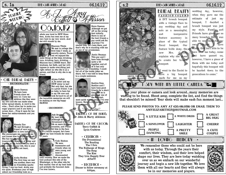 Wedding Program Newspaper Template Another Happy Bride Mini