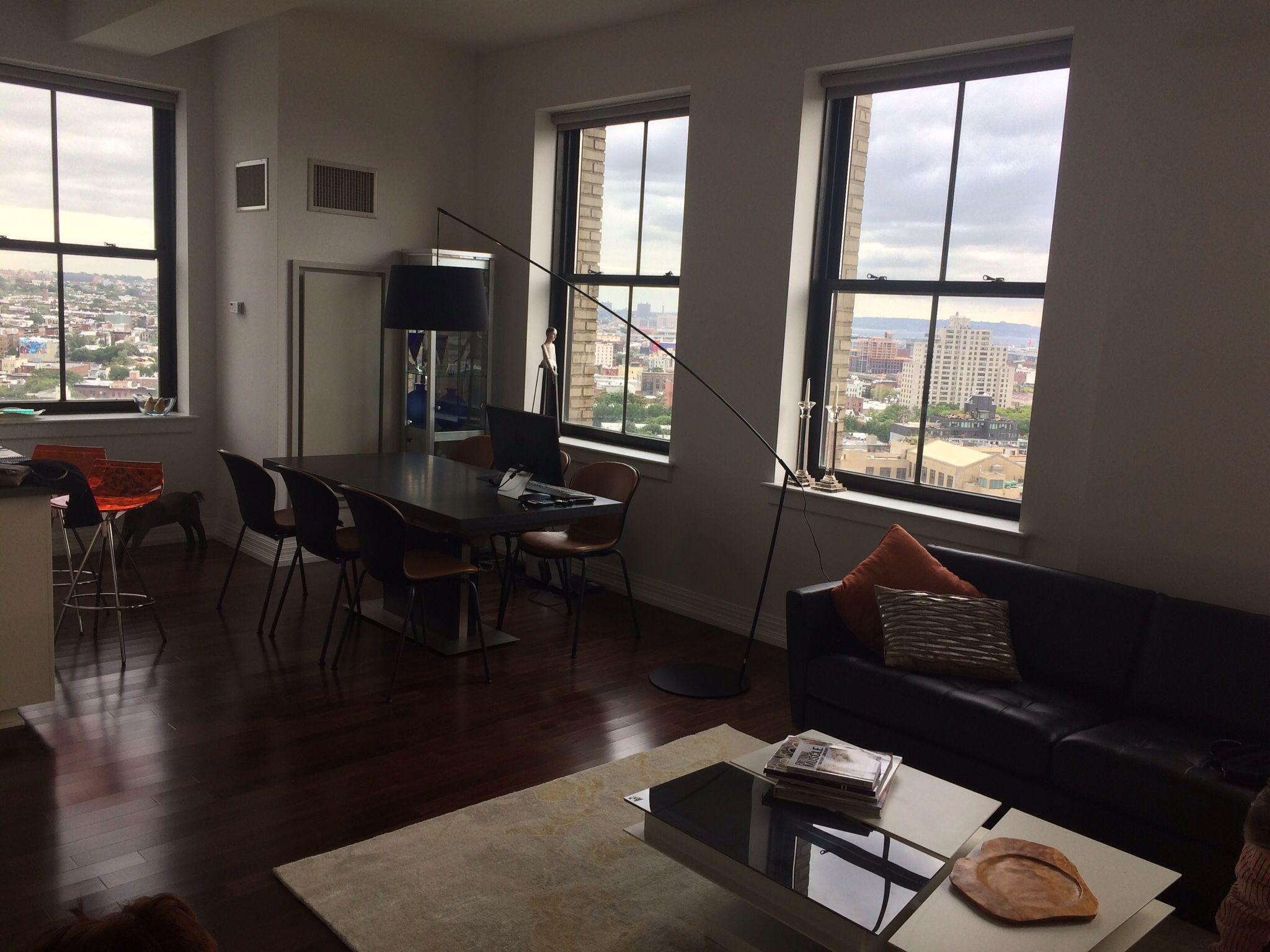 Contemporary condo in Brooklyn BoConcept Bari table Adelaide