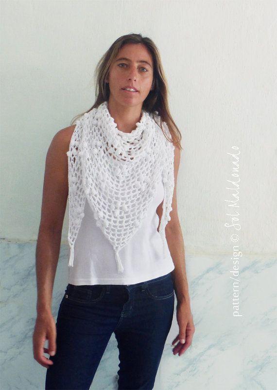 Crochet Pattern Triangle Scarf Iguazu PDF - shawl summer scarf ...
