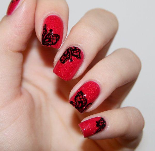 Red Lace Nina P S Photo Beautylish Pretty Nail Art Designs Lace Nail Art Red Nails