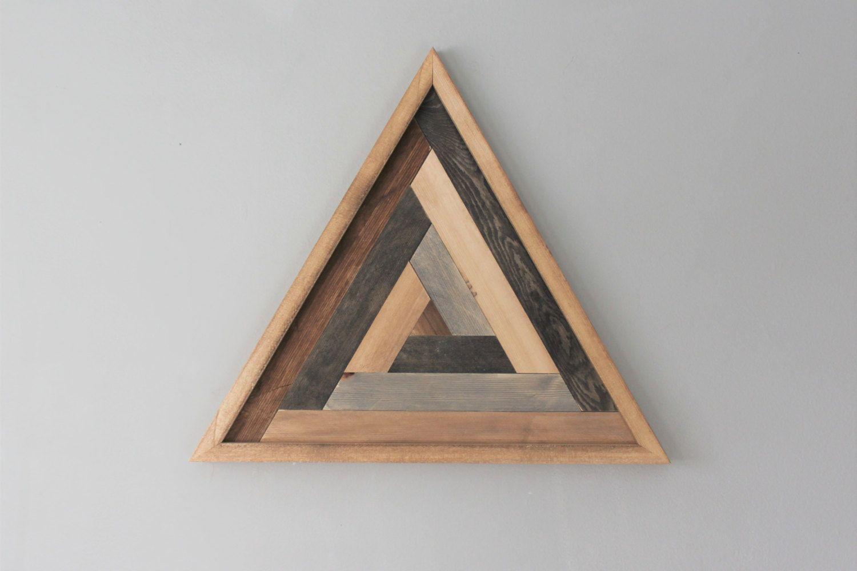 Wooden Triangle Wall Art Reclaimed Wooden Art Geometric Design Shape Art By Hollybeeandcompany On Etsy Wall Art Designs Wood Art Design Triangle Wall