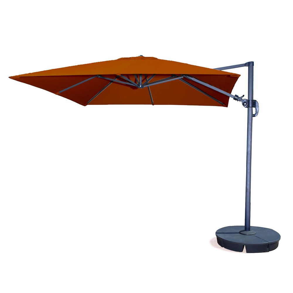 Santorini Ii 10 Ft Square Cantilever Sunbrella Acrylic Patio Umbrella In Terra Cotta Cantilever Umbrella Patio Umbrella Offset Patio Umbrella