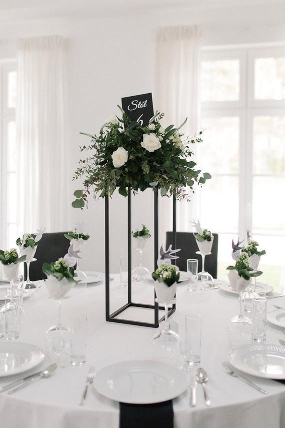 MATTE BLACK - Modern Rectangular Tall Metal Stand Wedding ...