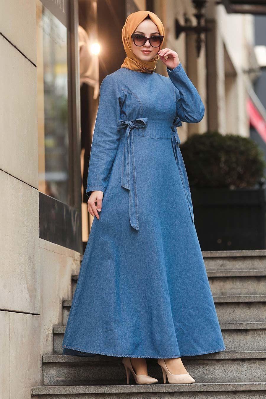 Neva Style Mavi Tesettur Kot Elbise 43190m Tesetturisland Com 2020 Mavi Uzun Elbiseler Kot Elbiseler The Dress