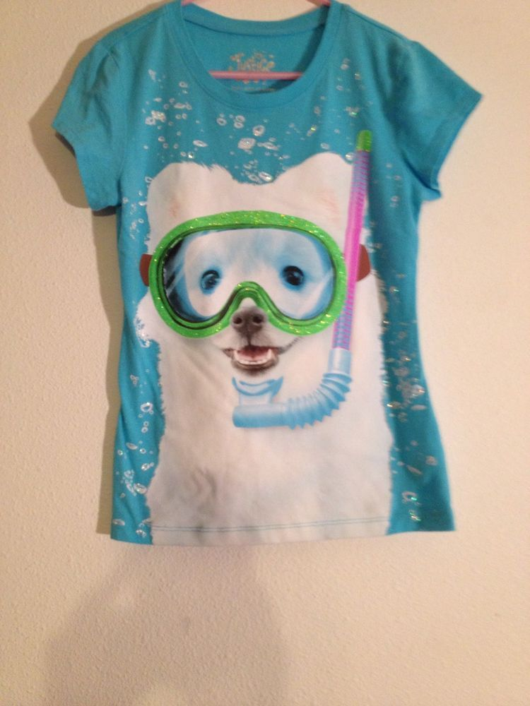 3bb21b3518aa Girls Snorkeling Dog T Shirt by Justice Turquoise size 7 Screen Printed   Justice  Everyday