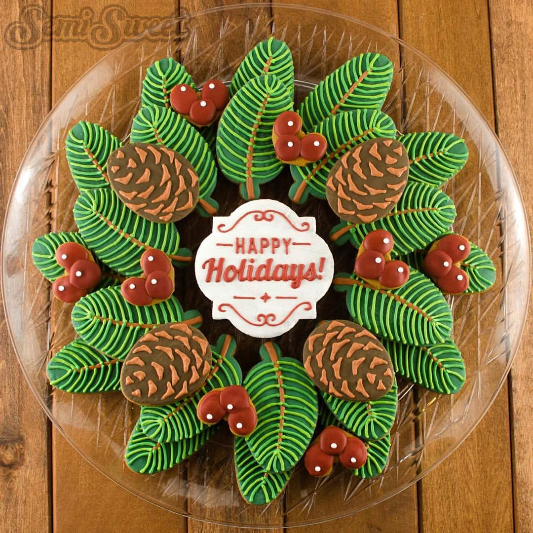 Pine Wreath And Berries Decorated Christmas Cookie Platter