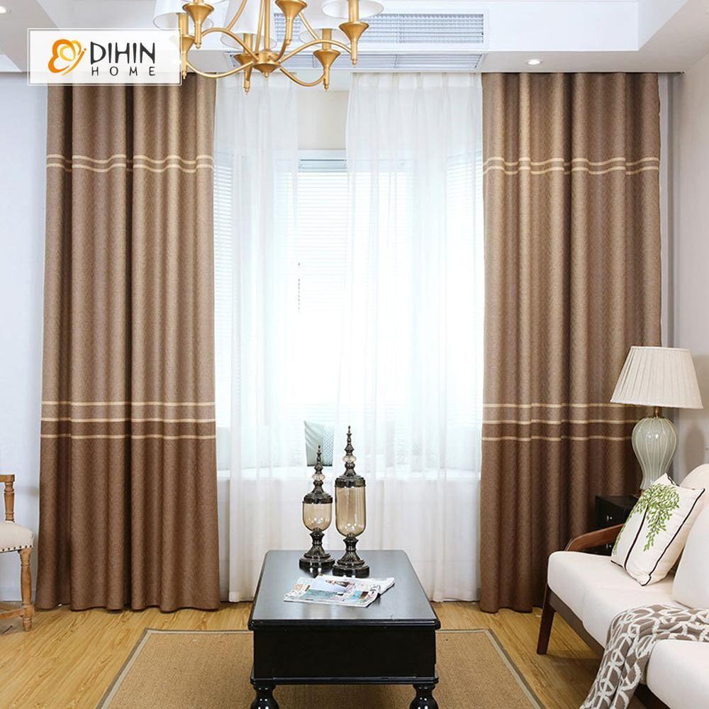 Dihin Home Brown Lines Printed Blackout Grommet Window Curtain