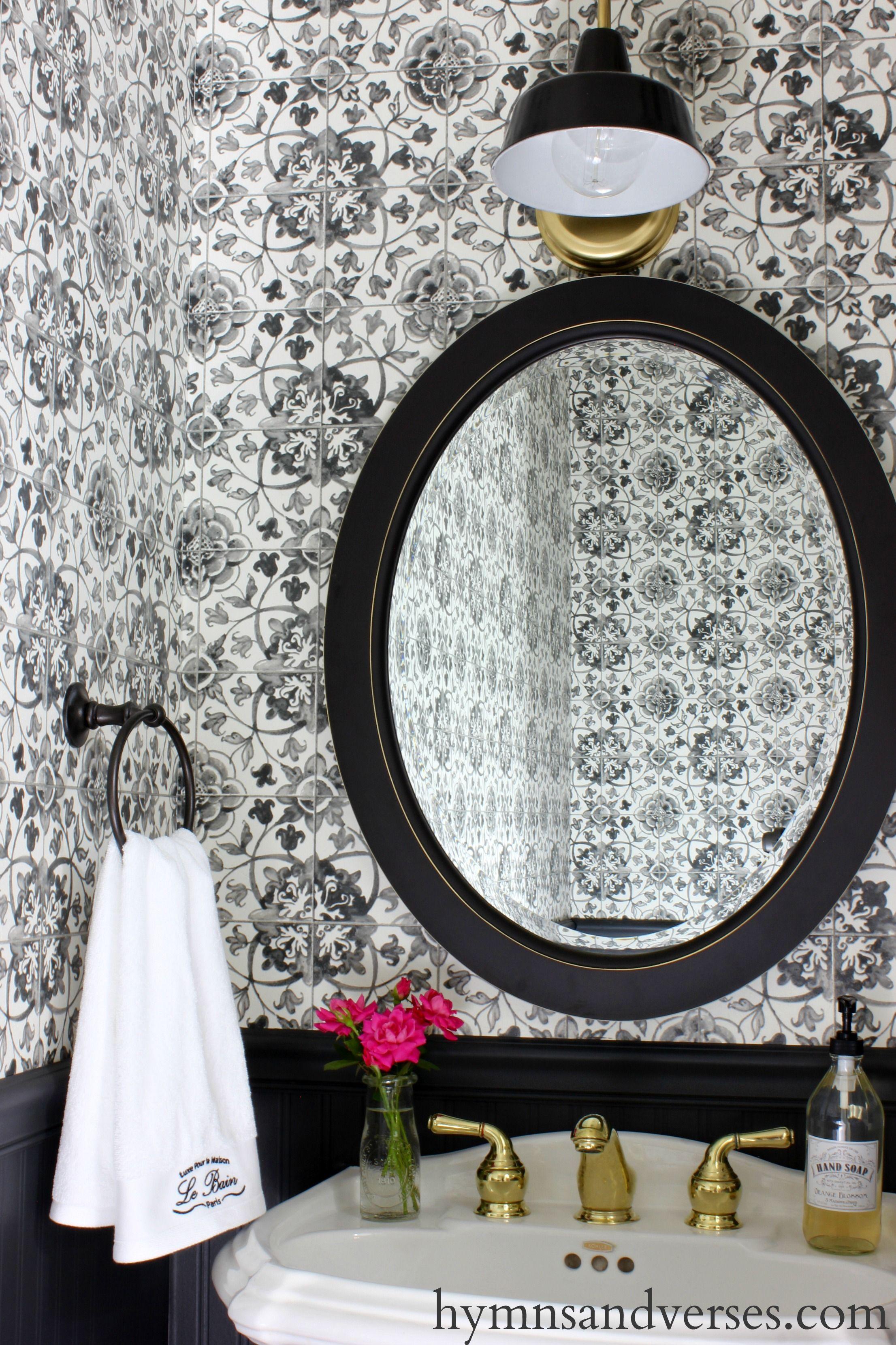 Black And White Tile Wallpaper Powder Room Black And White Wallpaper Powder Room Wallpaper Tile Wallpaper
