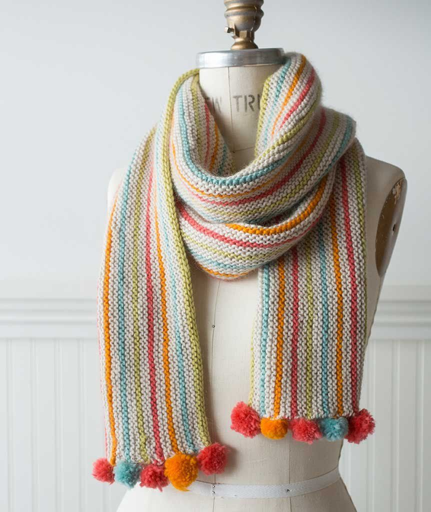 A bright, cheerful, lengthwise scarf, simple to knit and fun to wear ...