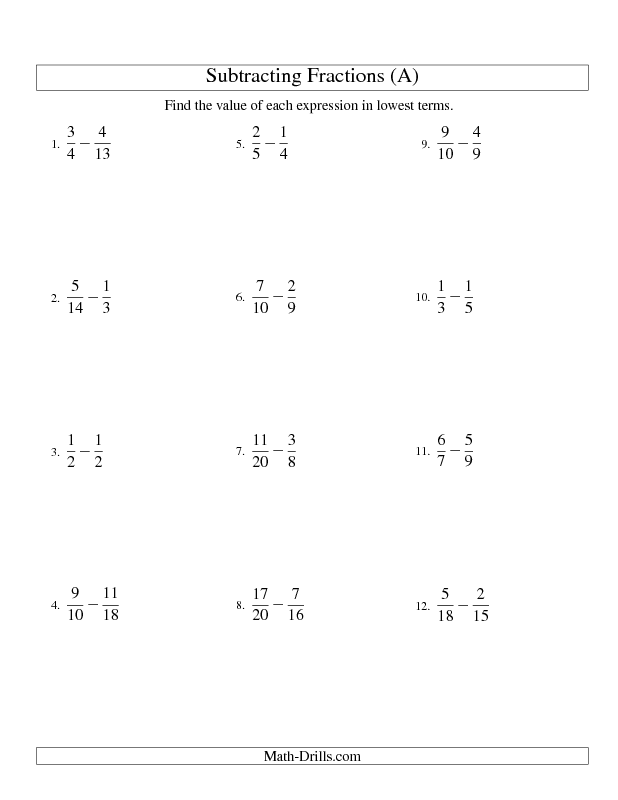 Fractions Worksheet -- Subtracting Fractions with Unlike ...