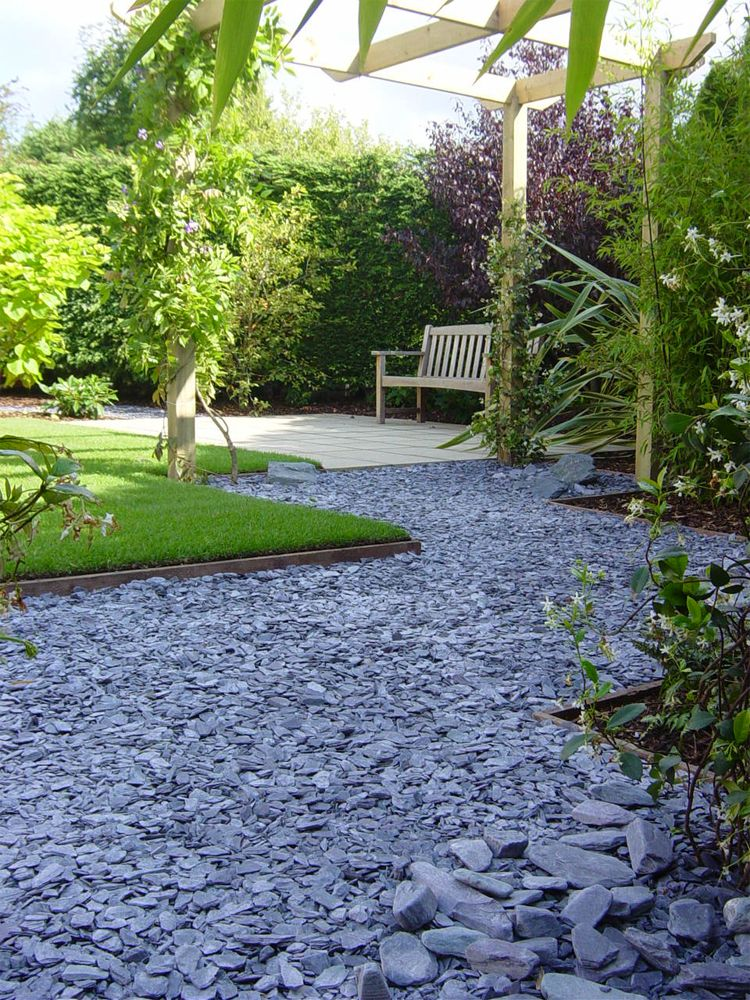 Decorative garden slate aggregate google search garden for Garden designs using pebbles