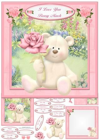 I Love You Beary Much Card Mini Kit Decoupage on Craftsuprint - View Now!
