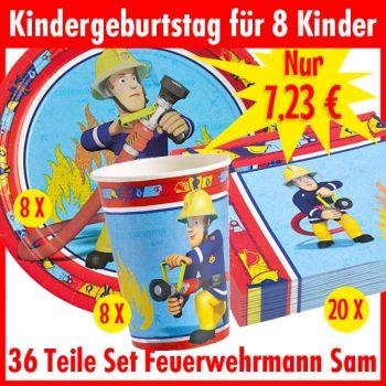 feuerwehrmann sam party set 36 teile f r 8 kinder. Black Bedroom Furniture Sets. Home Design Ideas