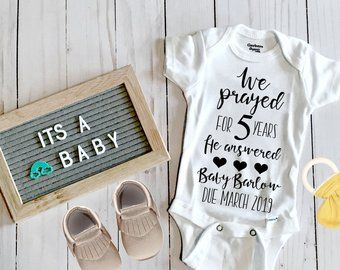 3e546435f Christian Pregnancy Announcement Onesie | Infertility Warrior | Baby  Announcement to husband | We prayed God Answered Rainbow Baby Onesie